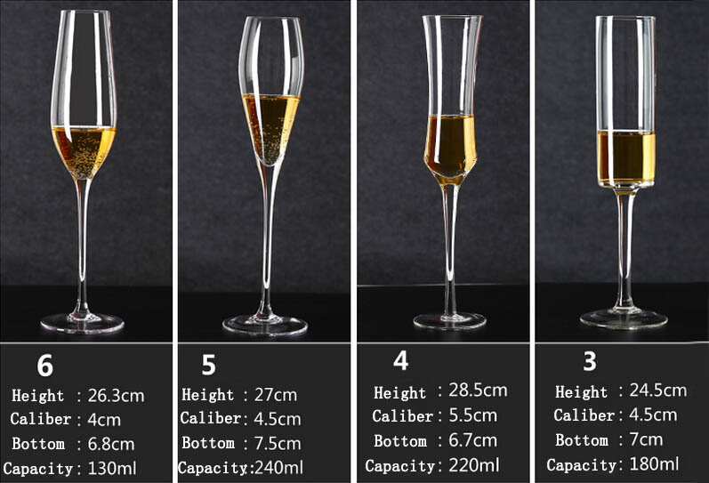 Hand blown crystal champagne flutes