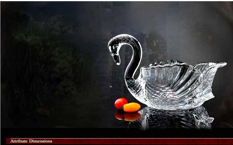 Swan crystal glass fruit bucket beautiful glass fruit containers wholesale