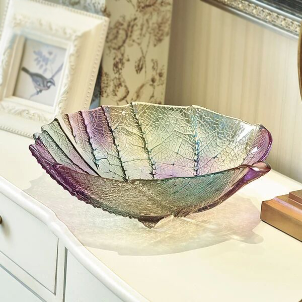 leaf shape glass plate