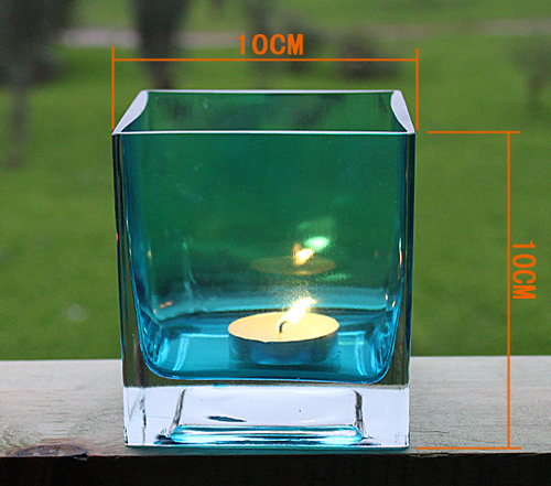 Colored glass candle holdersr