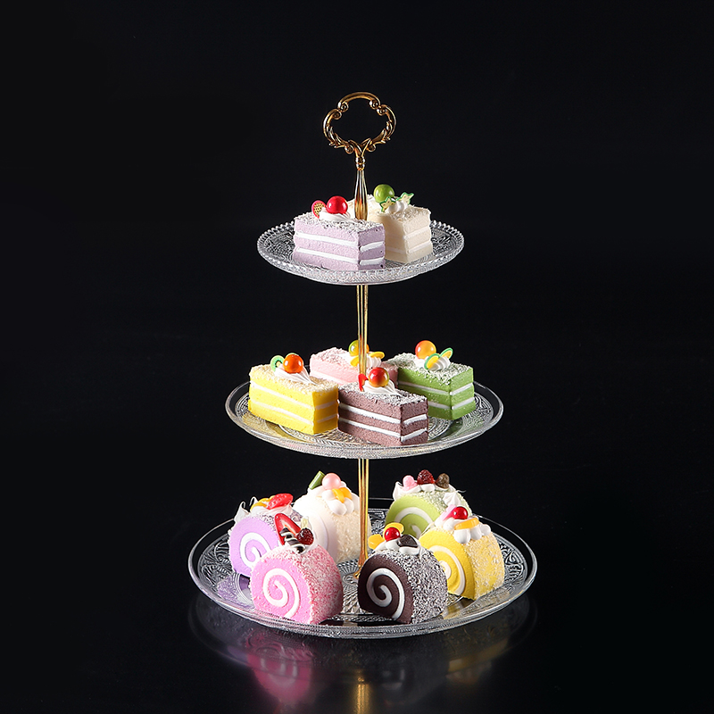 Creative glass three-tier fruit plate wholesale