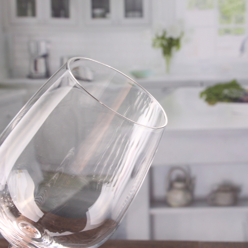 Mouth blown wine glass