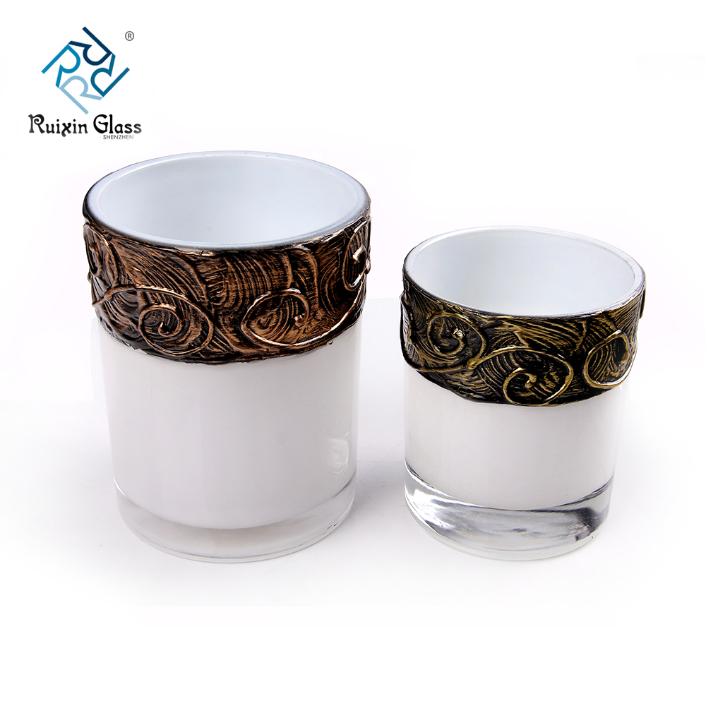 wholesale white glass candle holders