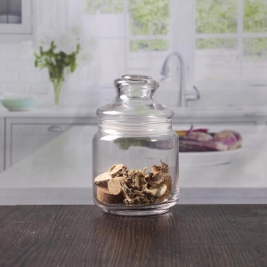 14 oz airtight jar clear glass canisters with lids