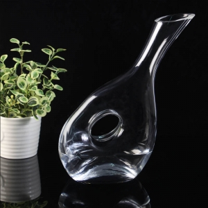 1500 ml oblique bottom lead free crystal glass decanter with hole