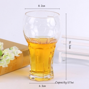 Bar popular glass beer mugs supplier football cup tall glass cups wholesale