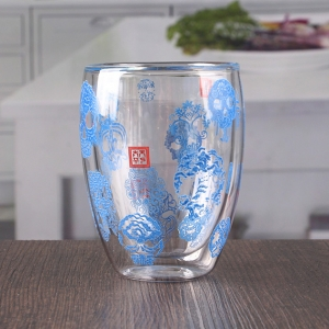China double wall decaled glass tea cups wholesale