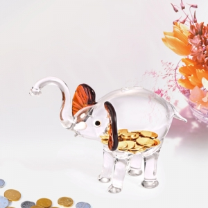 China elephant shape glass saving bank and modeling novel piggy bank suppliers