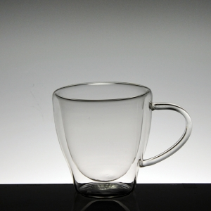 China factory double wall glass cup tumbler with handle suppliers