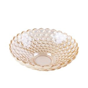 China glass fruit bowl supplier decorative gold bowl manufacturer