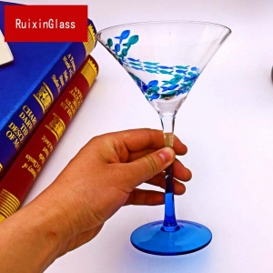 China glass stemware manufacturer hand painted martini glasses and custom hand painted wine glasses manufacturer