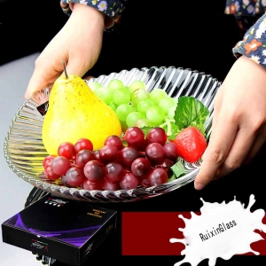 China glass tray facturer round glass fruit plate supplier