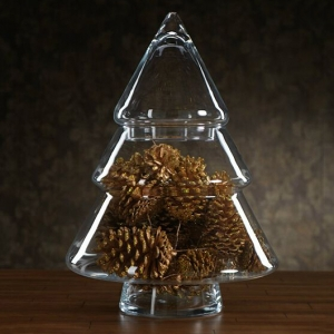 China glassware exporters christmas tree shaped glass candy jar for sale