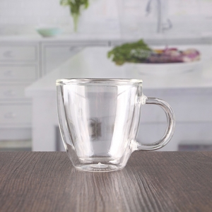 China hand blown 170ml double walled coffee mugs with handle wholesale