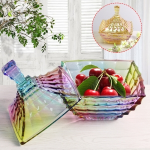 China high end glass candy bowl fashion creative candy cans wholesale