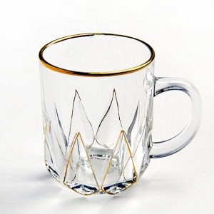 China hot selling gold rim coffee cup or tea handle glass cup suppliers