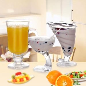 China milkshake glass cups for sale ice cream cups and spoons wholesale