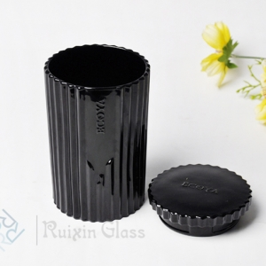 China modern candle jar manufacturer luxury black glass candle jar with lids wholesale