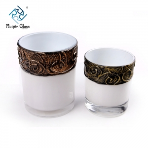 Chinese factory wholesale white glass candle holders