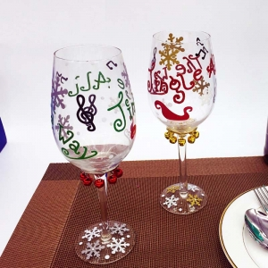 Christmas glass painting wine glasses to paint baking wine glasses wholesale