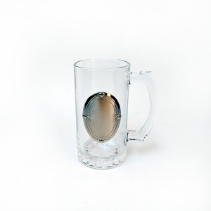 Clear glass mug supplier in China, drinking glasses glass with badge, manufactured glass cups and mugs suppliers