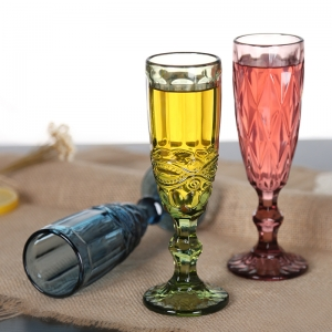 Coloured glass champagne flutes supplier unique toasting flutes old fashioned champagne glasses wholesale