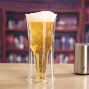 Creative double cup personalized beer mug double wall beer glass for sale wholesaler