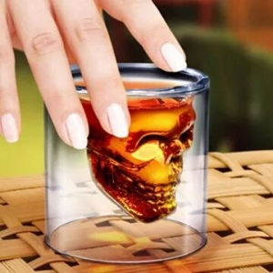 Creative skull glass cup,double walled glass double walled beer glasses supplier