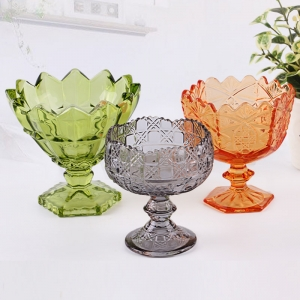 Different types of Ice cream bowls supplier fruit juice and cold drink glass bowl wholesale