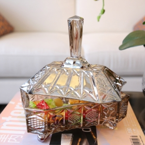 European classic plating glass compote candy jar supplier