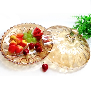 Fruit dish wholesale dried fruit plate for sale have glass lids wholesaler