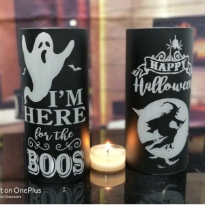 Halloween glass candle holder wholesale, Candle  holder for halloween decor