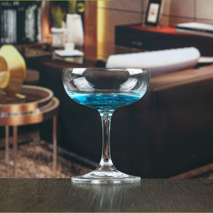Hand blown inexpensive glass champagne saucer wholesale