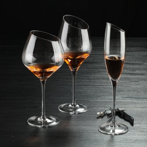 Hand blown oblique mouth burgundy wine glass slant fancy wine glasses in bulk