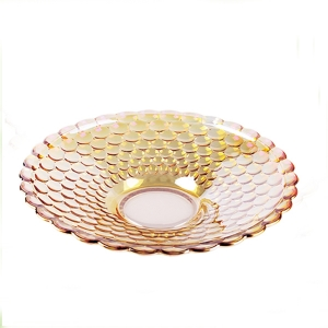 High quality golden colorful pearl dots glass fruit plate wholesale