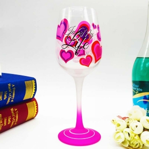 Holiday wine glasses cute painted wine glasses colored glass mugs supplier