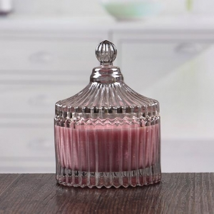 Large ribbed grey bulk glass candle holders with dome lids wholesale