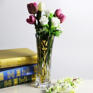 New gold mercury glass vases and tulip electroplating glass vase supplier