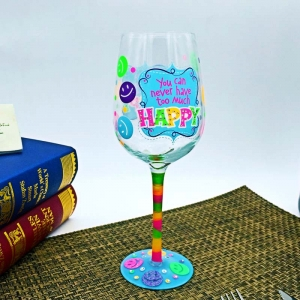 Painted stemware|cup of glass and hand painted wine glasses wholesale