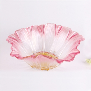 Pink sunflower shaped glass fruit plate wholesale
