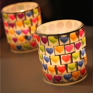 Romantic heart design mosaic candle holders,heart candle holder wholesale
