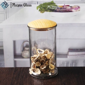 Shenzhen glass jar suppliers sealable glass containers bamboo lid glass jars for storage