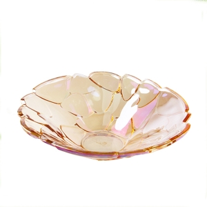 Stones splicing shaped gold and silver glass fruit plates for sale
