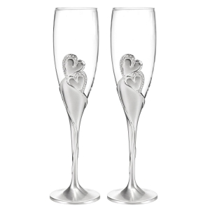 Toasting Flutes Wedding Silver glass champagne glasses wedding champagne flutes wholesale