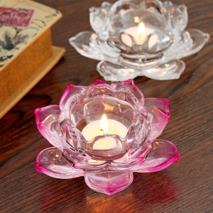 Transparent crystal lotus candle holder supplier clear glass tealight candle holders factory