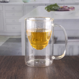 Wholesale 350ml etched double wall insulated tumbler with handle