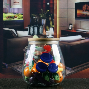 Wholesale 700ml hand painted glass airtight storage jar with wooden lids