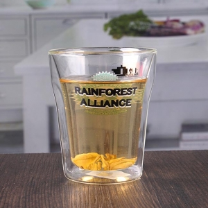 Wholesale 9 oz home goods double layer cup double wall glasses with logo