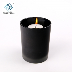 Wholesale Matte black 8oz glass candle holder