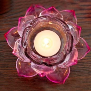 Wholesale Pink Crystal Lotus Candle Holder